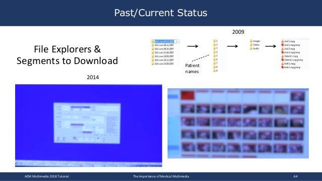 Past/Current Status ACM Multimedia 2018 Tutorial The Importance of Medical Multimedia 64 Patient names File Explorers & Se...