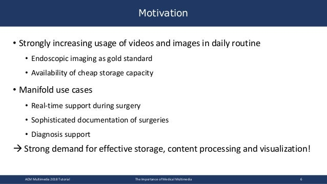 • Strongly increasing usage of videos and images in daily routine • Endoscopic imaging as gold standard • Availability of ...