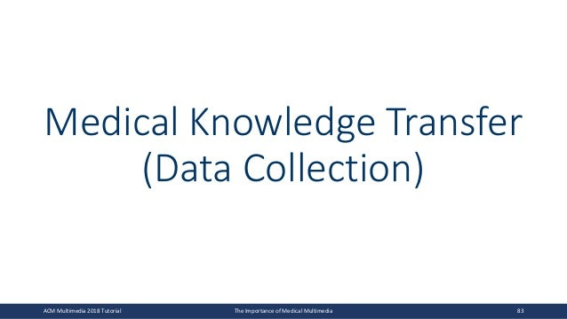 Medical Knowledge Transfer (Data Collection) ACM Multimedia 2018 Tutorial The Importance of Medical Multimedia 83