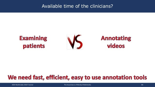 Available time of the clinicians? ACM Multimedia 2018 Tutorial The Importance of Medical Multimedia 86