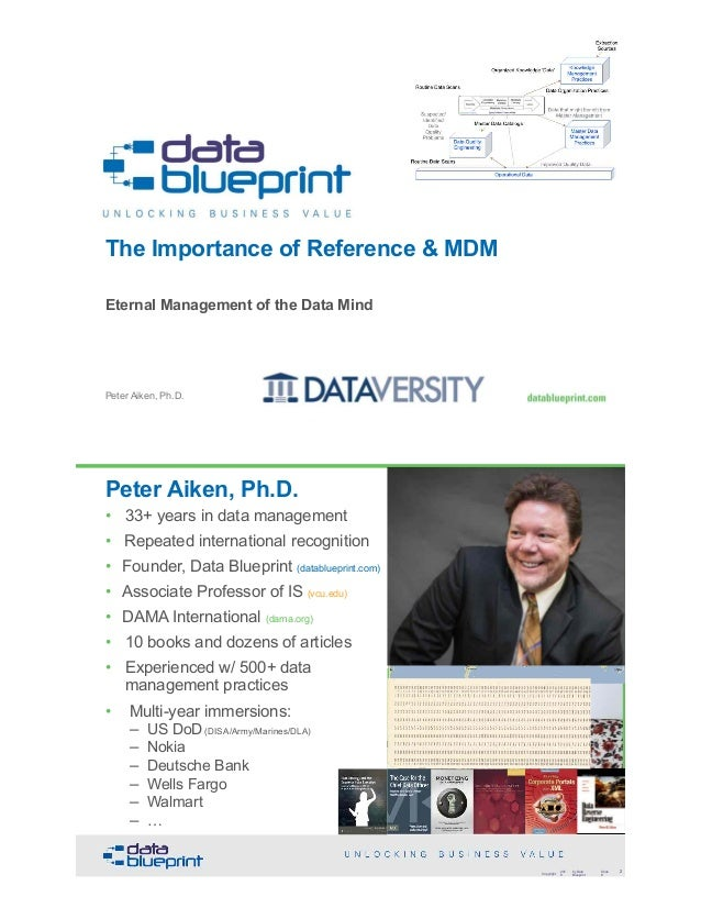 The Importance of Reference & MDM Eternal Management of the Data Mind Peter Aiken, Ph.D. Copyright 201 8 by Data Blueprint...