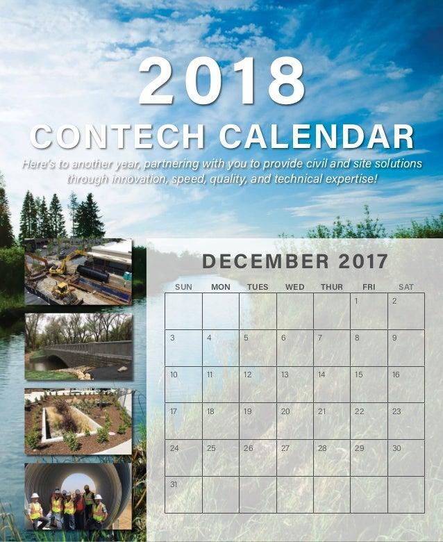 2018 CONTECH CALENDAR SUN MON TUES WED THUR FRI SAT 1 2 3 4 5 6 7 8 9 10 11 12 13 14 15 16 17 18 19 20 21 22 23 24 25 26 2...