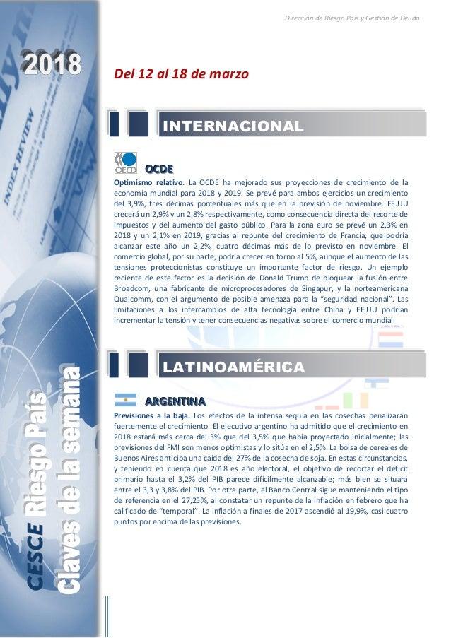 Dirección de Riesgo País y Gestión de Deuda Del 12 al 18 de marzo OOOCCCDDDEEE Optimismo relativo. La OCDE ha mejorado sus...
