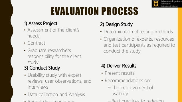 EVALUATION PROCESS 1) Assess Project • Assessment of the client's needs • Contract • Graduate researchers responsibility f...