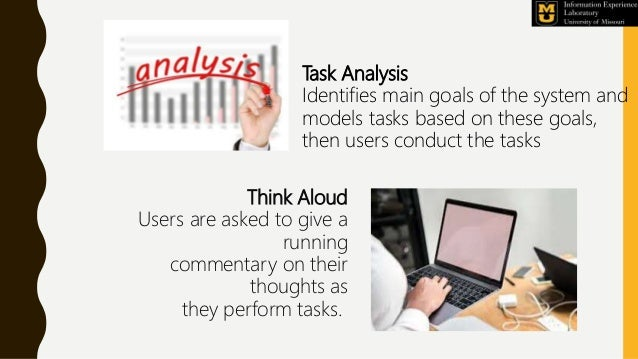 Task Analysis Identifies main goals of the system and models tasks based on these goals, then users conduct the tasks Thin...