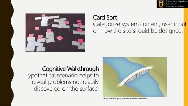Card Sort Categorize system content, user input on how the site should be designed. Cognitive Walkthrough Hypothetical sce...