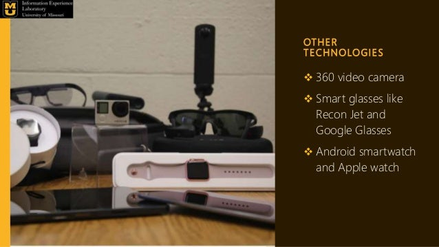 OT H E R T E C H N O LO G I E S  360 video camera  Smart glasses like Recon Jet and Google Glasses  Android smartwatch ...