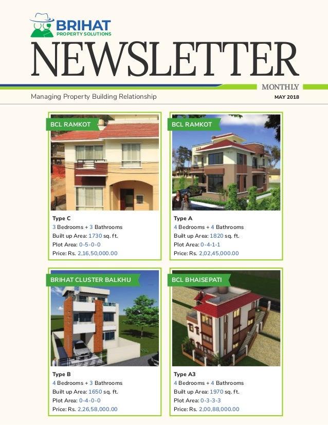 NEWSLETTER BRIHATPROPERTY SOLUTIONS MONTHLY Managing Property Building Relationship MAY 2018 BCL RAMKOT Type C 3 Bedrooms ...