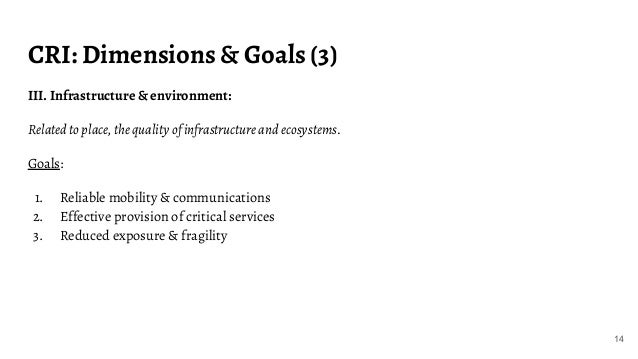 CRI: Dimensions & Goals (3) III. Infrastructure & environment: Related to place, the quality of infrastructure and ecosyst...