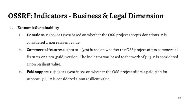 OSSRF: Indicators - Business & Legal Dimension 23 1. Economic Sustainability a. Donations: 0 (no) or 1 (yes) based on whet...