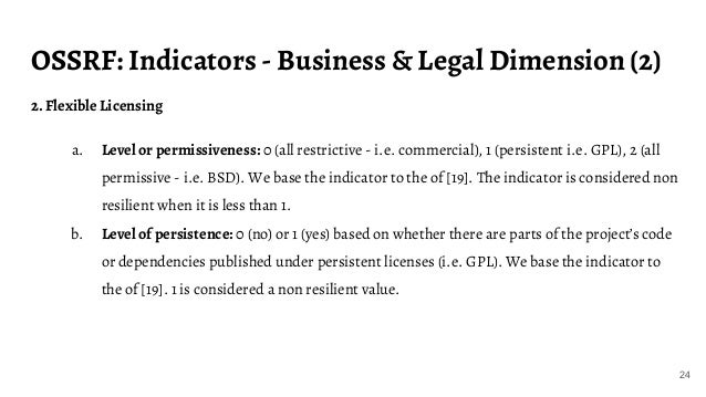 OSSRF: Indicators - Business & Legal Dimension (2) 24 2. Flexible Licensing a. Level or permissiveness: 0 (all restrictive...