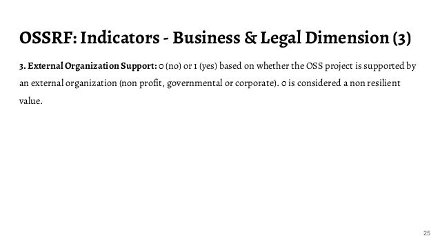 OSSRF: Indicators - Business & Legal Dimension (3) 25 3. External Organization Support: 0 (no) or 1 (yes) based on whether...