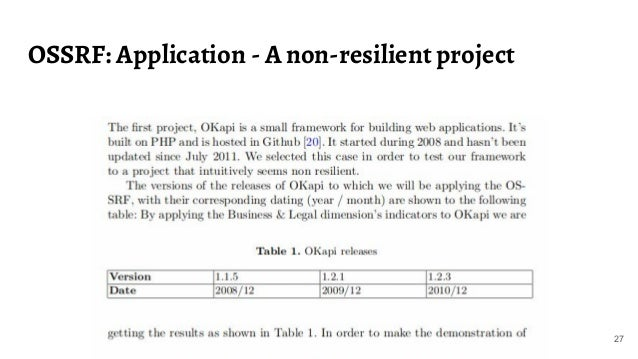 OSSRF: Application - A non-resilient project 27
