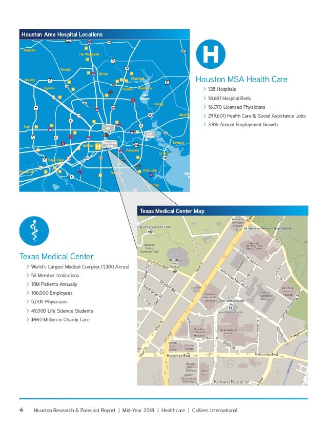 Map Of Texas Medical Center.Mid Year 2018 Houston Healthcare Research Forecast Report