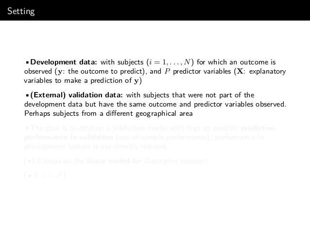 Linear model: OLS regression Linear regression model y = f(X) + , ∼ N(0, σ2 ) •With linear main effects only: ˆf(X) = ˆβ0 +...