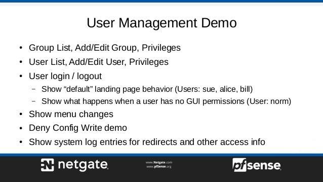User Management and Privileges on pfSense 2 4 - pfSense Hangout Janua…