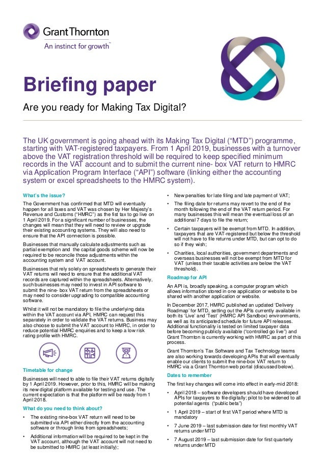 6e87f5826e4f98 UK  Briefing Paper - Are you ready for Making Tax Digital
