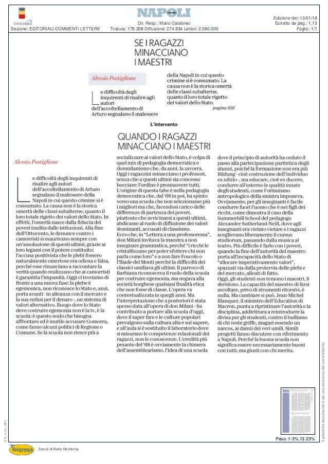 Tiratura: 179.208 Diffusione: 274.934 Lettori: 2.080.000 Dir. Resp.: Mario Calabresi Servizi di Media Monitoring Sezione: ...