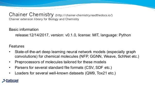 Chainer Chemistry (http://chainer-chemistry.readthedocs.io/) Chainer extension library for Biology and Chemistry Basic inf...