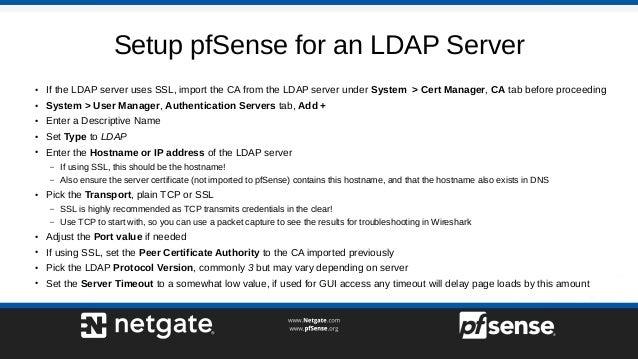 RADIUS and LDAP on pfSense 2 4 - pfSense Hangout February 2018