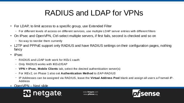 RADIUS and LDAP on pfSense 2.4 - pfSense Hangout February 2018