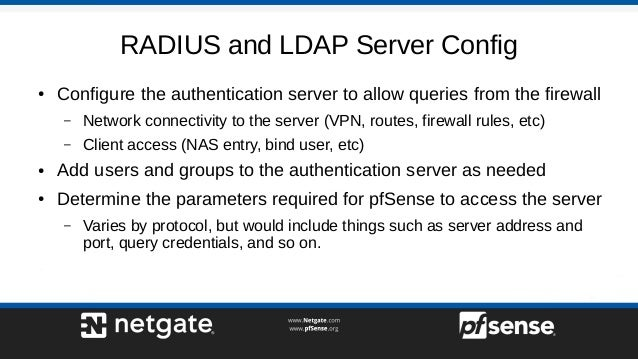 RADIUS and LDAP on pfSense 2 4 - pfSense Hangout February 2018