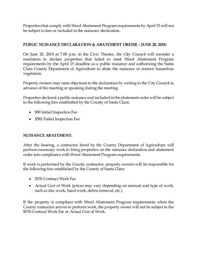 Saratoga Weed Abatement 2018 02 05 Sample Letter