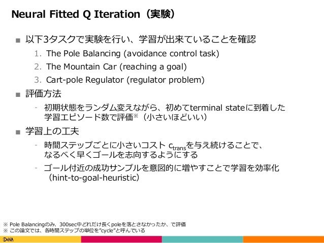 Copyright(C)DeNACo.,Ltd.AllRightsReserved. Neural Fitted Q Iteration(実験) ■ 以下3タスクで実験を⾏い、学習が出来ていることを確認 1. The Pole Ba...