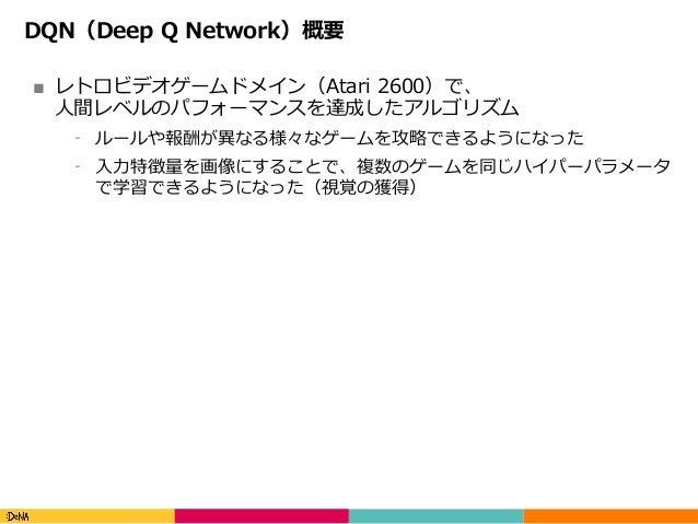 Copyright(C)DeNACo.,Ltd.AllRightsReserved. DQN(Deep Q Network)概要 ■ レトロビデオゲームドメイン(Atari 2600)で、 ⼈間レベルのパフォーマンスを達成したアルゴ...