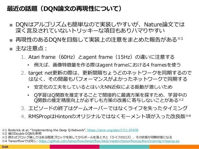 Copyright(C)DeNACo.,Ltd.AllRightsReserved. 最近の話題(DQN論⽂の再現性について) ■ DQNはアルゴリズムも簡単なので実装しやすいが、Nature論⽂では 深く⾔及されていないトリッキー...