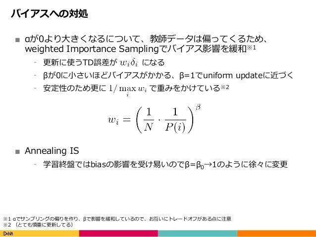 Copyright(C)DeNACo.,Ltd.AllRightsReserved. バイアスへの対処 ■ αが0より⼤きくなるについて、教師データは偏ってくるため、 weighted Importance Samplingでバイア...
