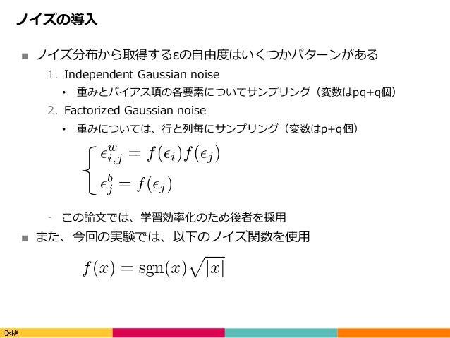 Copyright(C)DeNACo.,Ltd.AllRightsReserved. ノイズの導⼊ ■ ノイズ分布から取得するεの⾃由度はいくつかパターンがある 1. Independent Gaussian noise • 重みと...