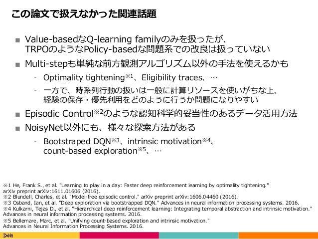 Copyright(C)DeNACo.,Ltd.AllRightsReserved. この論⽂で扱えなかった関連話題 ■ Value-basedなQ-learning familyのみを扱ったが、 TRPOのようなPolicy-ba...