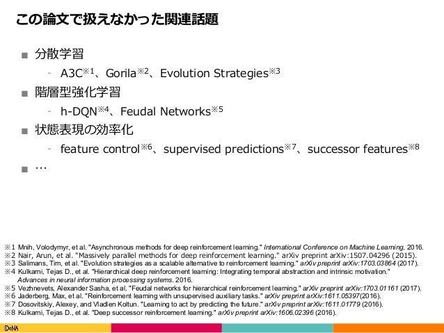 Copyright(C)DeNACo.,Ltd.AllRightsReserved. この論⽂で扱えなかった関連話題 ■ 分散学習 ⁃ A3C※1、Gorila※2、Evolution Strategies※3 ■ 階層型強化学習 ...