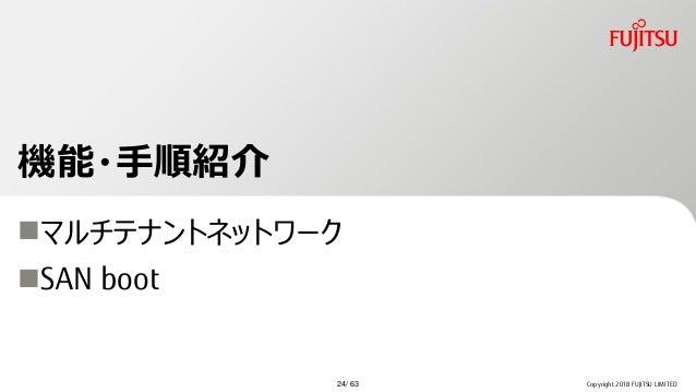 機能・手順紹介 マルチテナントネットワーク SAN boot Copyright 2018 FUJITSU LIMITED24/ 63