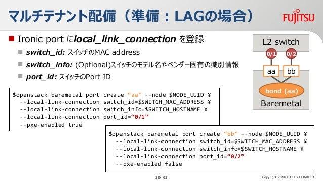 "Copyright 2018 FUJITSU LIMITED マルチテナント配備(準備:LAGの場合) $openstack baremetal port create ""aa"" --node $NODE_UUID ¥ --local-link..."
