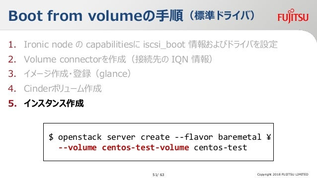 Boot from volumeの手順(標準ドライバ) 1. Ironic node の capabilitiesに iscsi_boot 情報およびドライバを設定 2. Volume connectorを作成(接続先の IQN 情報) 3. ...