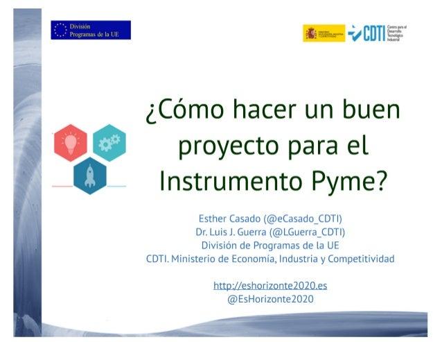 20180219 ¿cómo hacer un buen proyecto para el Instrumento PYME ?