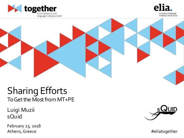 February 23, 2018 Athens, Greece #eliatogether SharingEfforts ToGettheMostfromMT+PE Luigi Muzii sQuid