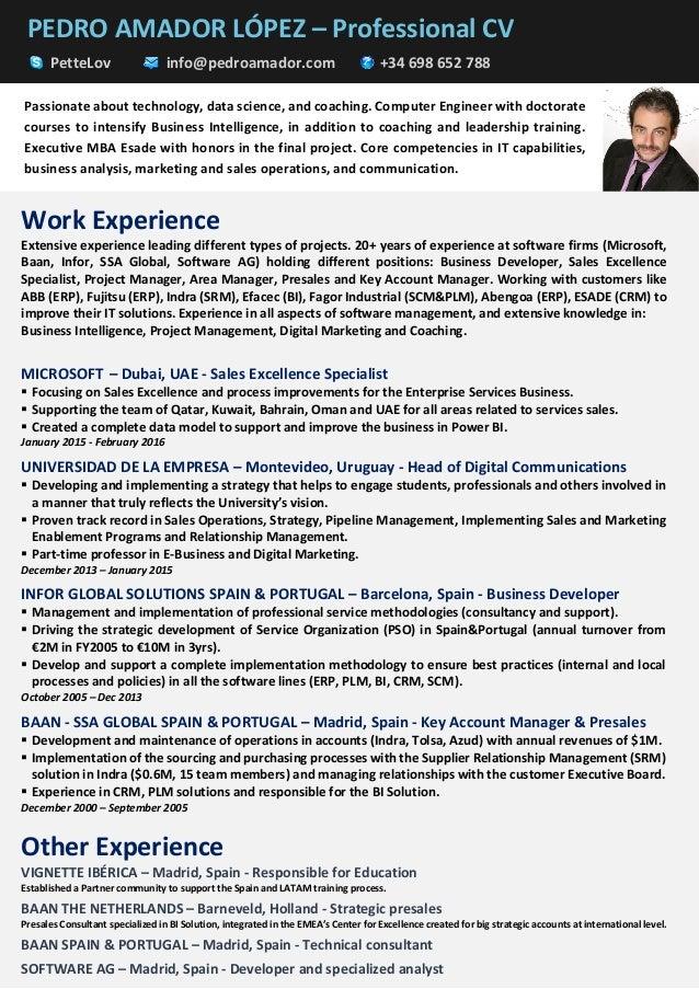 PEDRO AMADOR LÓPEZ – Professional CV PetteLov info@pedroamador.com +34 698 652 788 Work Experience Extensive experience le...