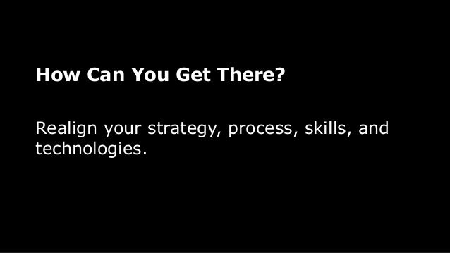 How Can You Get There? Realign your strategy, process, skills, and technologies.