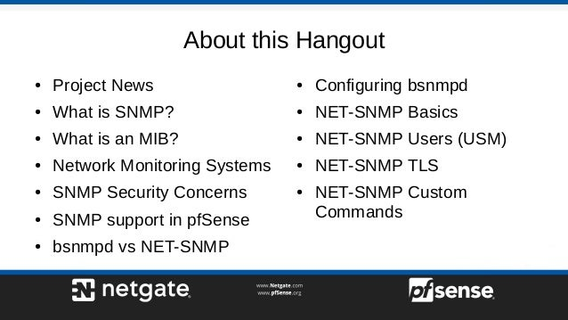 Monitoring pfSense 2 4 with SNMP - pfSense Hangout March 2018