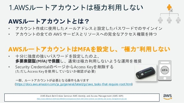 © 2018, Amazon Web Services, Inc. or its Affiliates. All rights reserved. 1.AWSルートアカウントは極力利用しない AWSルートアカウントとは? • アカウント作成に使...