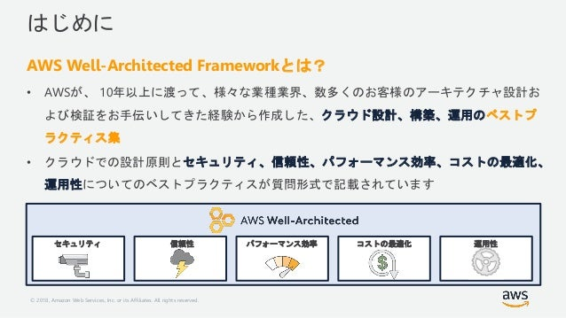© 2018, Amazon Web Services, Inc. or its Affiliates. All rights reserved. はじめに AWS Well-Architected Frameworkとは? • AWSが、 1...