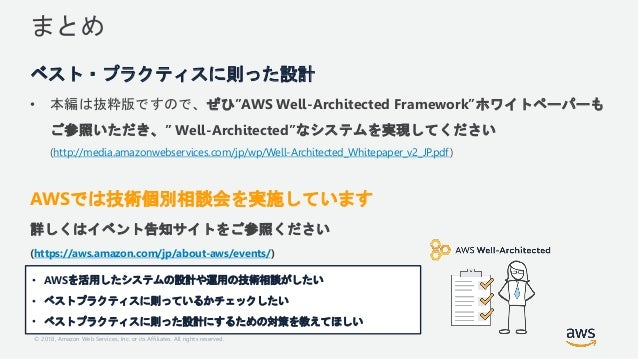 """© 2018, Amazon Web Services, Inc. or its Affiliates. All rights reserved. まとめ ベスト・プラクティスに則った設計 • 本編は抜粋版ですので、ぜひ""""AWS Well-Ar..."""