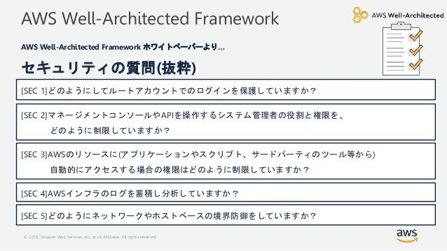 © 2018, Amazon Web Services, Inc. or its Affiliates. All rights reserved. AWS Well-Architected Framework AWS Well-Architec...