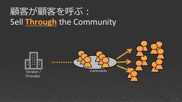 顧客が顧客を呼ぶ: Sell Through the Community Vendor / Provider Community