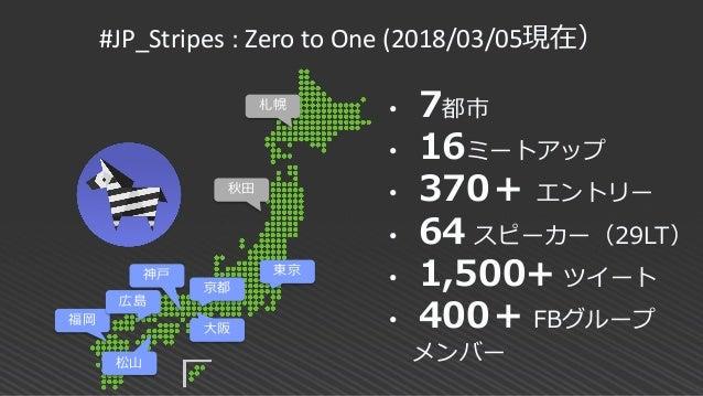#JP_Stripes : Zero to One (2018/03/05現在) 東京 京都 大阪 神戸 福岡 松山 • 7都市 • 16ミートアップ • 370+ エントリー • 64 スピーカー(29LT) • 1,500+ ツイート • ...