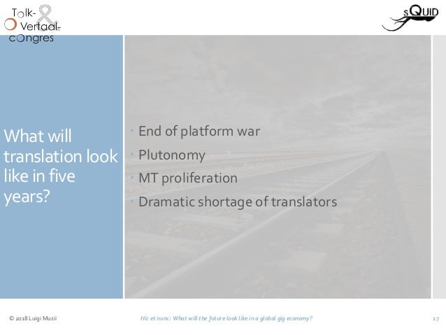 What will translation look like in five years?  End of platform war  Plutonomy  MT proliferation  Dramatic shortage of...