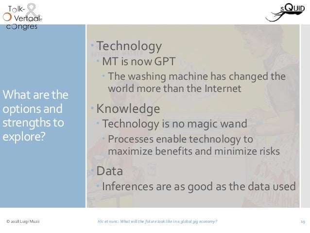 What are the options and strengths to explore? Technology  MT is now GPT  The washing machine has changed the world mor...